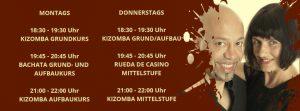 Aktuell: Am 2.6. finden unsere Wochenend-Workshops für Kizomba statt.